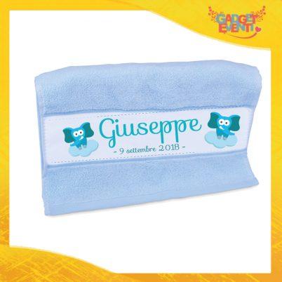 """Asciugamano Bimbo Personalizzato Azzurro """"Elefantino Con Nome e Data"""" Gadget Eventi"""