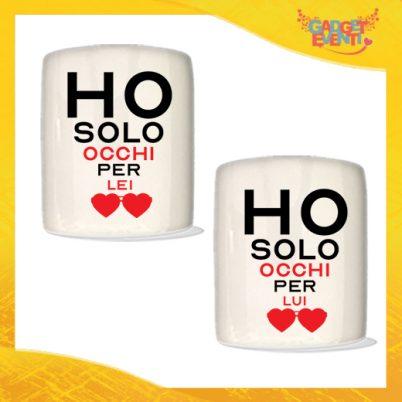 """Coppia di Salvadanai Personalizzati Love """"Ho Occhi Solo Per Te"""". Portamonete Cilindrici Per Innamorati Idea regalo Gadget Eventi"""