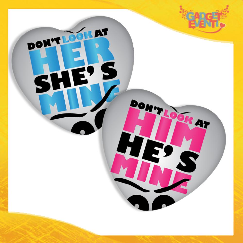 """Coppia di Mouse Pad a Cuore Per Innamorati """"Don't Look Him Her"""" tappetino pc ufficio idea regalo San Valentino gadget eventi"""