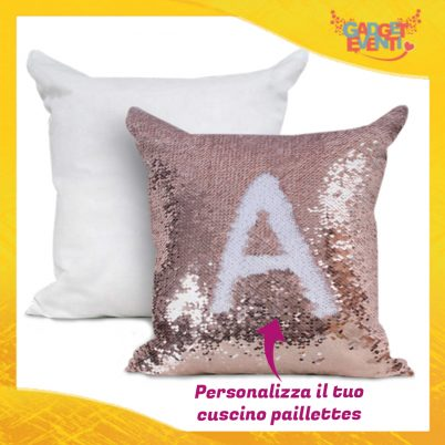 Cuscino in Paillettes Personalizzabile Rosa/Oro Gadget Eventi