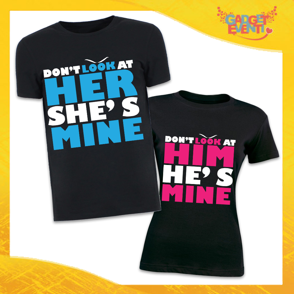 "T-Shirt Coppia Magliette Nere ""Don't Look Him Her"" Gadget Eventi"