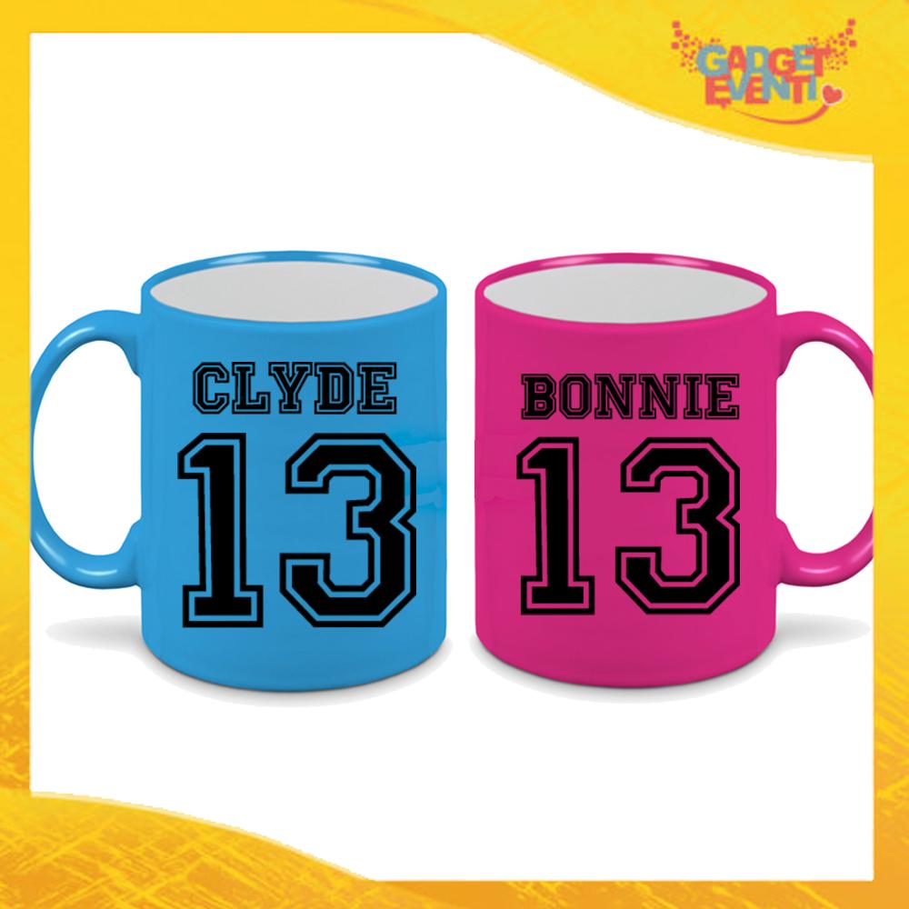 """Coppia di Tazze Fluo Love Personalizzate """"Bonnie and Clyde con Numero"""" Mug Colazione Breakfast Idea Regalo Per Innamorati Gadget Eventi"""" Mug Colazione Breakfast Idea Regalo Per Innamorati Gadget Eventi"""