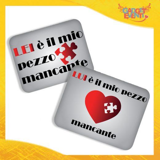 """Coppia di Mouse Pad Rettangolari Per Innamorati """"Pezzo Mancante"""" tappetino pc ufficio idea regalo San Valentino gadget eventi"""