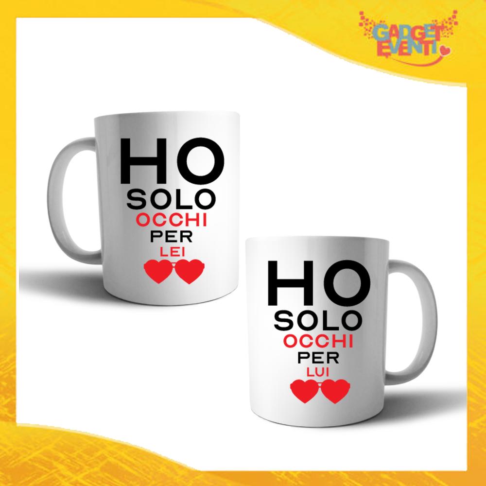 """Coppia di Tazze Love Personalizzate Grafica Nera """"Ho Occhi Solo Per Lei Lui"""" Mug Colazione Breakfast Idea Regalo Per Innamorati Gadget Eventi"""