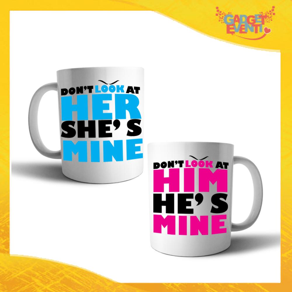 """Coppia di Tazze Love Personalizzate """"Don't Look Him Her"""" Mug Colazione Breakfast Idea Regalo Per Innamorati Gadget Eventi"""