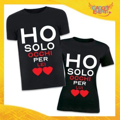 """T-Shirt Coppia Magliette Nere Grafica Bianca """"Amore Ricarica"""" Gadget Eventi"""
