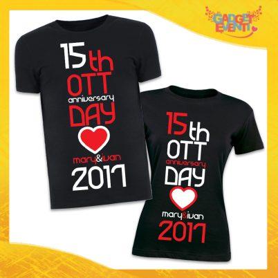 """T-Shirt Coppia Magliette Nere """"Anniversario con Data e Nomi"""" Gadget Eventi"""