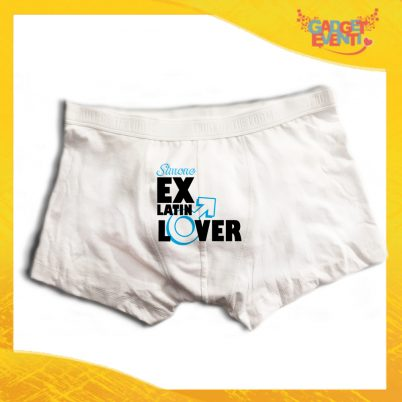 """Boxer da Uomo Bianco Personalizzato """"Ex Latin Lover"""" Articolo Intimo Per Addii al Celibato Gadget Eventi"""