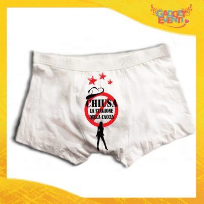"""Boxer da Uomo Bianco Personalizzato """"Chiusa la Stagione della Caccia"""" Articolo Intimo Per Addii al Celibato Gadget Eventi"""