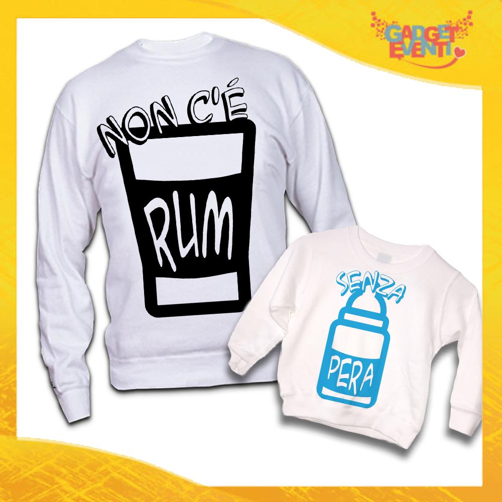 """Coppia di Felpe Bianche Padre Figlio Grafica Azzurra """"Rum e Pera"""" Magliette Idea Regalo Originale Festa del Papà Gadget Eventi"""