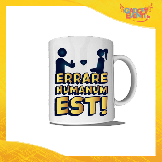 """Tazza Bianca Personalizzata """"Errare Humanum Est"""" Mug Colazione Breakfast Idea Regalo Addio al Celibato Gadget Eventi"""