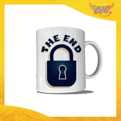 """Tazza Bianca Personalizzata """"The End"""" Mug Colazione Breakfast Idea Regalo Addio al Celibato Gadget Eventi"""