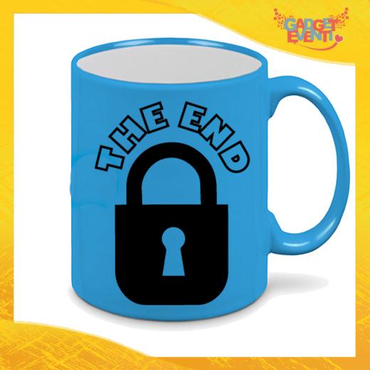 """Tazza Fluo Blu Personalizzata """"The End"""" Mug Colazione Breakfast Idea Regalo Per Addii al Celibato Gadget Eventi"""