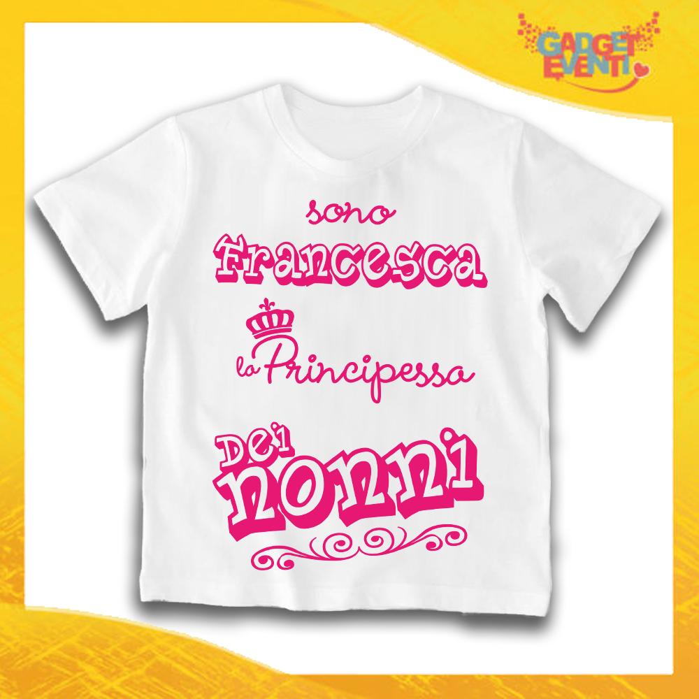 """Maglietta Bianca Bimba """"Principe/Principessa dei Nonni"""" Idea Regalo T-Shirt Festa dei Nonni Gadget Eventi"""