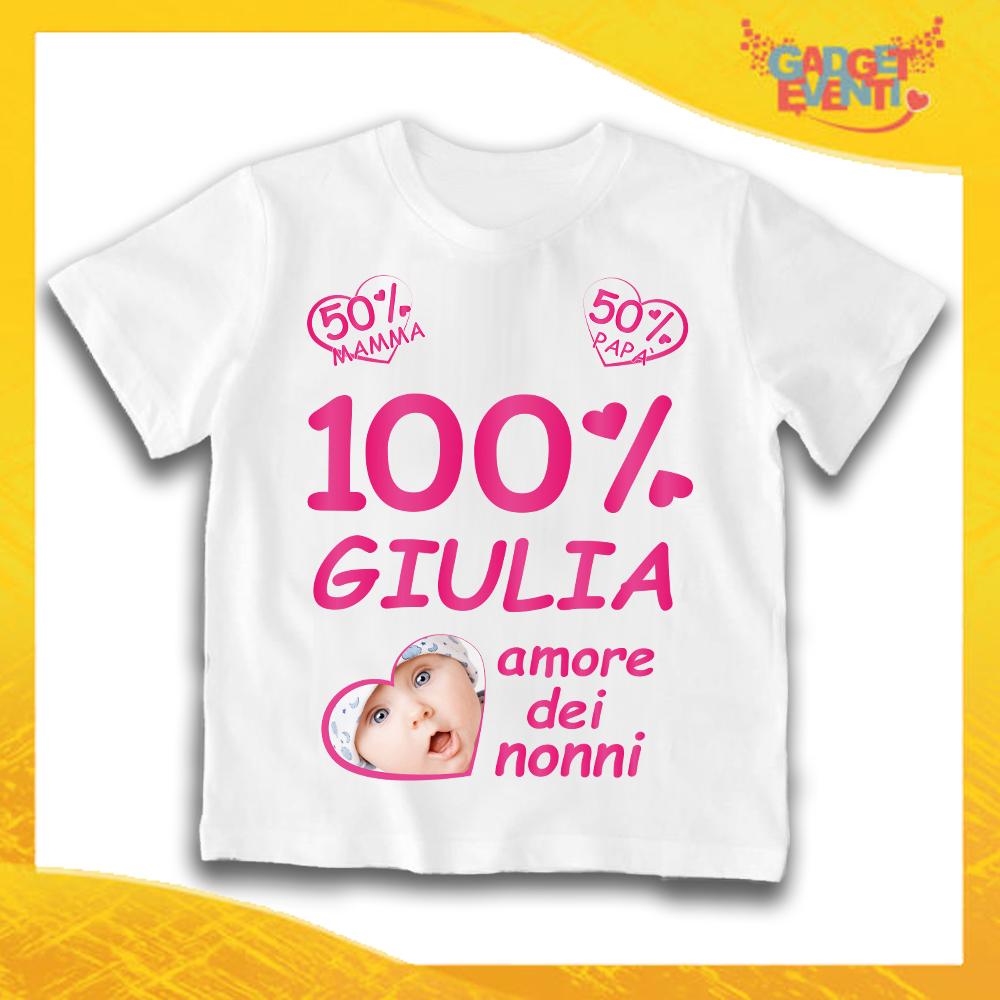 """Maglietta Bianca Bimba """"Amore dei Nonni"""" Idea Regalo T-Shirt Festa dei Nonni Gadget Eventi"""