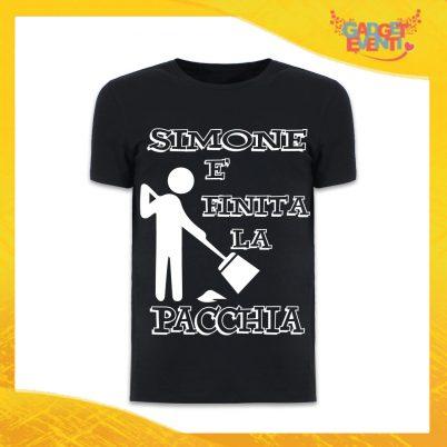 """T-Shirt Uomo Nera Addio al Celibato Maglietta """"È Finita la Pacchia Con Nome"""" Gadget Eventi"""