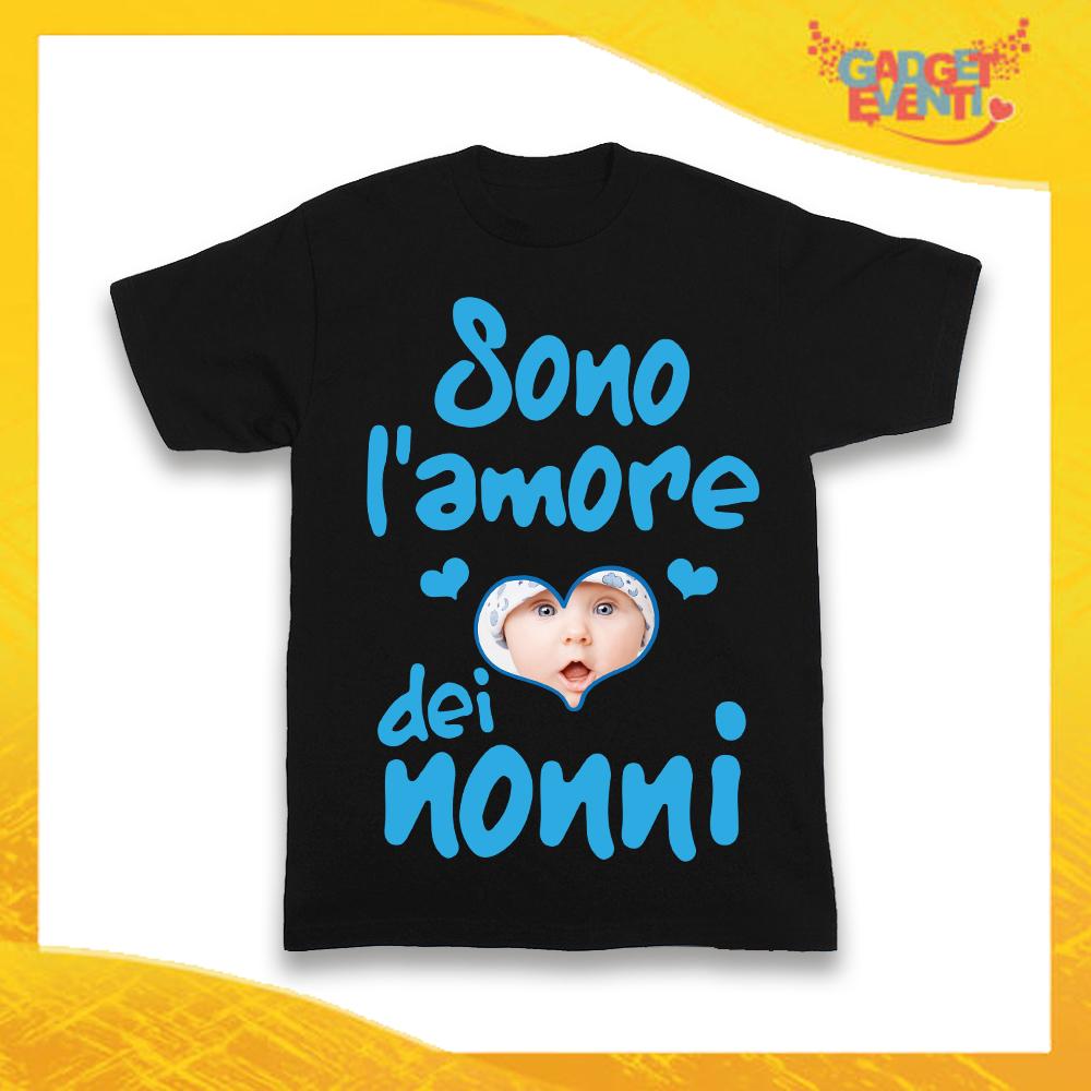 """Maglietta Nera Bimbo """"Sono l'Amore dei Nonni"""" Idea Regalo T-Shirt Festa dei Nonni Gadget Eventi"""