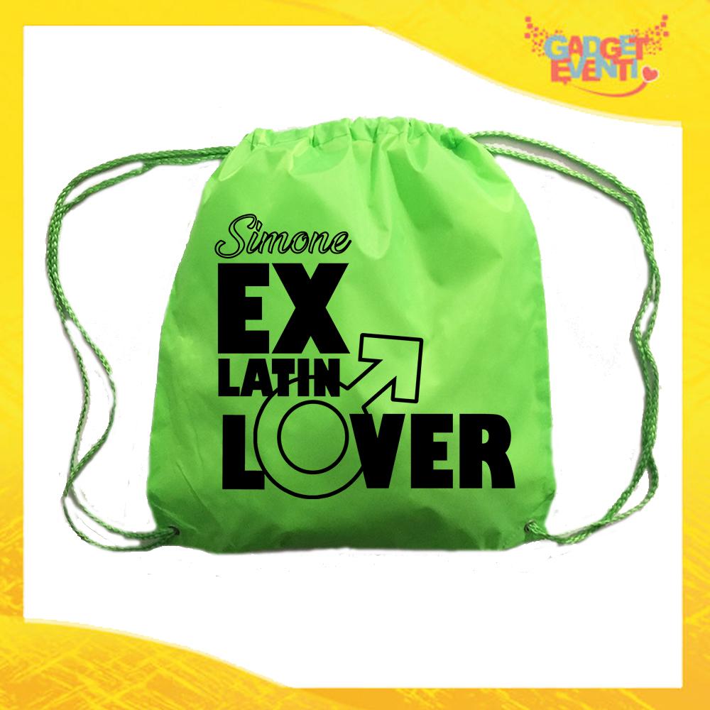 """Sacca Sport Verde Fluo """"Ex Latin Lover"""" Idea Regalo Per Addii al Celibato Gadget Eventi"""