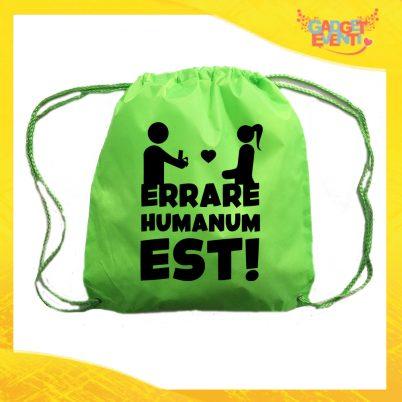 "Sacca Sport Verde Fluo ""Errare Humanum Est"" Idea Regalo Per Addii al Celibato Gadget Eventi"
