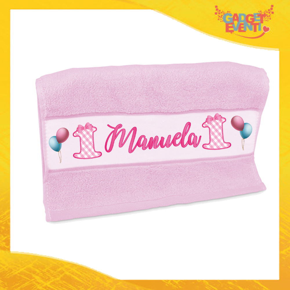 """Asciugamano Bimba Personalizzato Rosa """"Quadri"""" Gadget Eventi"""