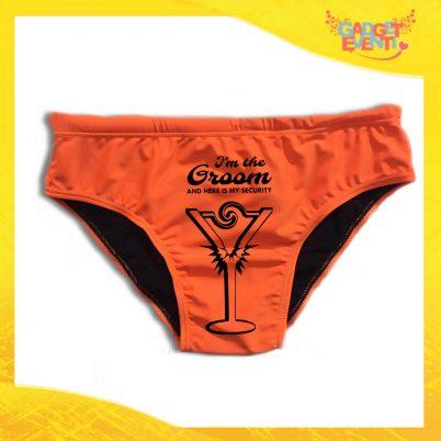 """Costume Celibato Slip Arancio Fluo Personalizzato """"Groom Security"""""""