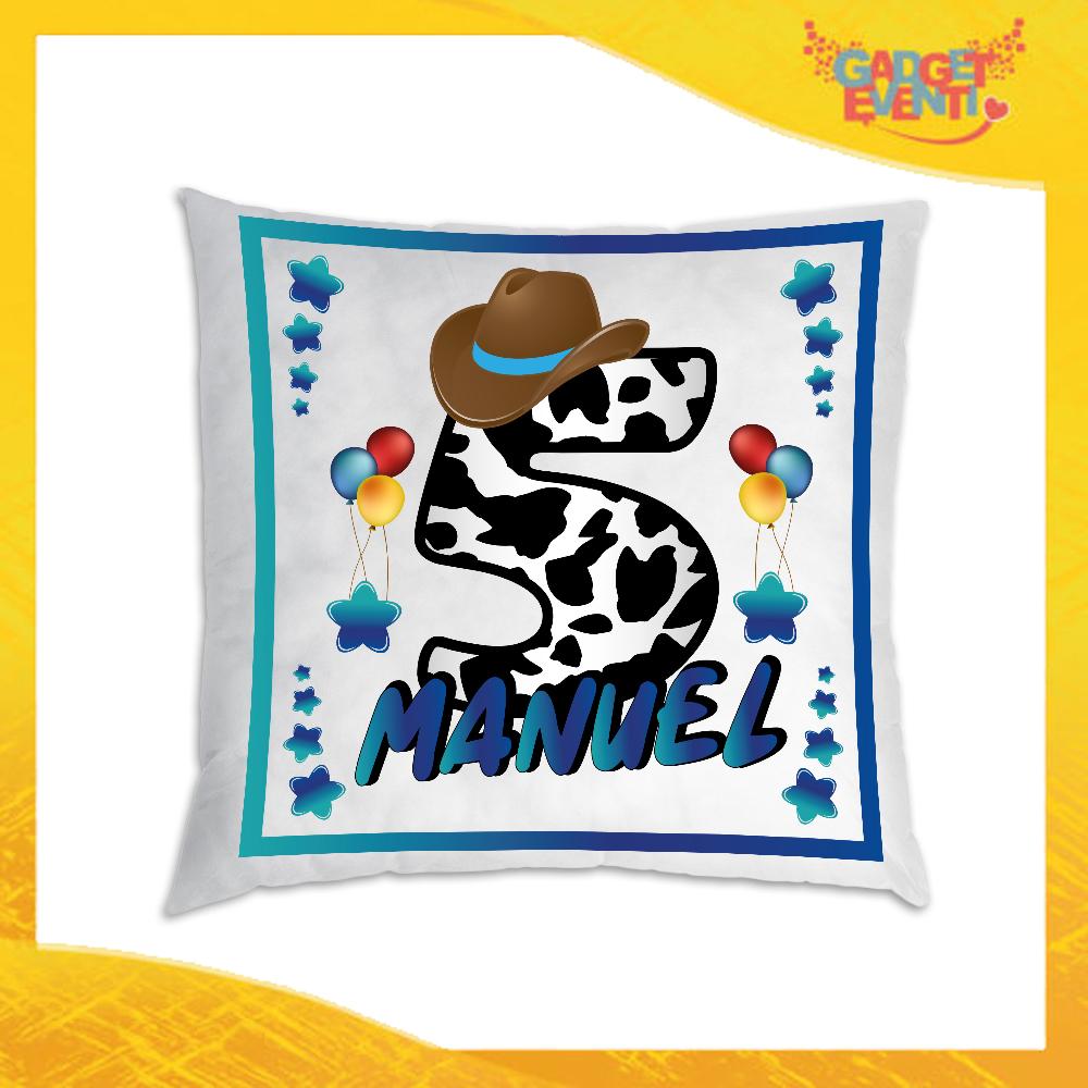 """Cuscino Quadrato Bimbo Divano Letto Poltrona """"Cowboy Nome e Numero"""" Idea Regalo per Festa di Compleanno Gadget Eventi"""