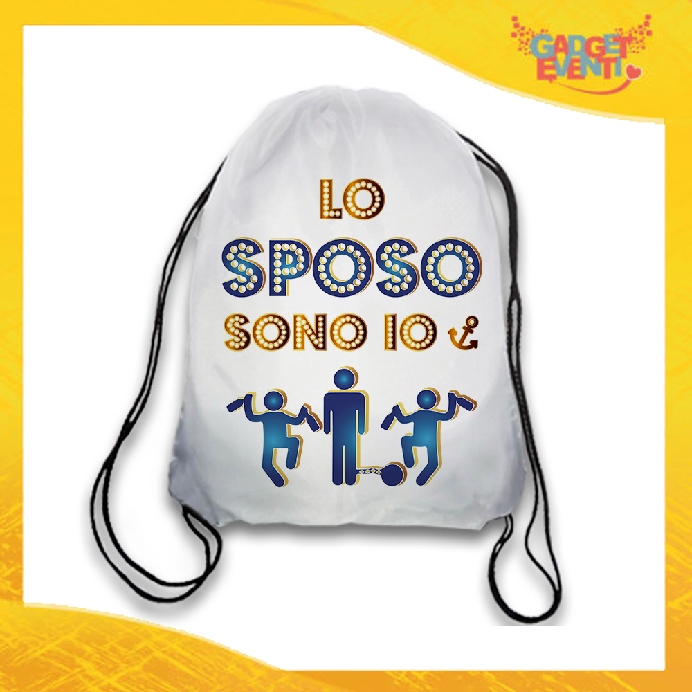 """Sacca Sport Bianca """"Lo Sposo Sono Io"""" Idea Regalo Per Addii al Celibato Gadget Eventi"""