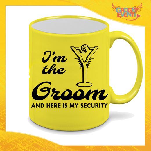 """Tazza Fluo Giallo Personalizzata """"Groom Security"""" Mug Colazione Breakfast Idea Regalo Per Addii al Celibato Gadget Eventi"""