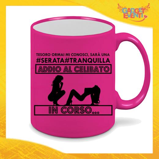 """Tazza Fluo GFucsia Personalizzata """"Serata Tranquilla"""" Mug Colazione Breakfast Idea Regalo Per Addii al Celibato Gadget Eventi"""