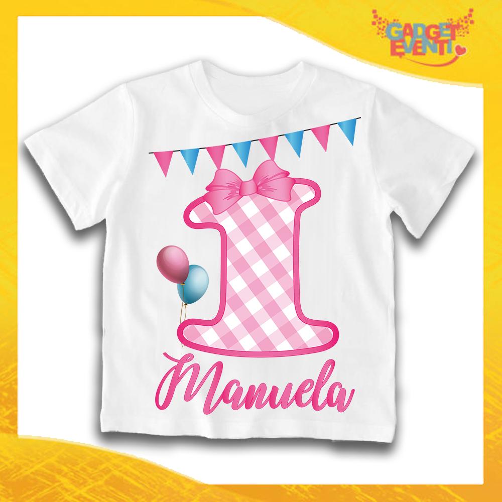 """T-Shirt Bianca bimba """"Quadri Nome e Numero"""" Maglietta Idea Regalo Per Compleanni Gadget Eventi"""