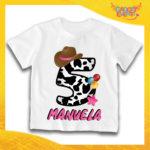 """T-Shirt Bianca bimba """"Cowbboy Nome e Numero"""" Maglietta Idea Regalo Per Compleanni Gadget Eventi"""