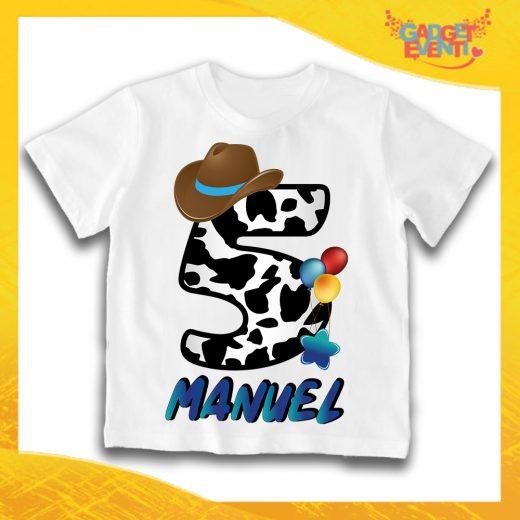 """T-Shirt Bianca bimbo """"Cowbboy Nome e Numero"""" Maglietta Idea Regalo Per Compleanni Gadget Eventi"""