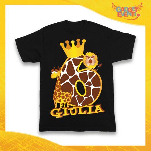 """T-Shirt Nera bimbo/a """"Safari Nome e Numero"""" Maglietta Idea Regalo Per Compleanni Gadget Eventi"""