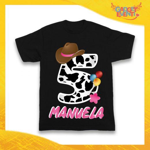 """T-Shirt Nera bimba """"Cowbboy Nome e Numero"""" Maglietta Idea Regalo Per Compleanni Gadget Eventi"""