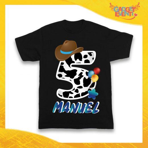 """T-Shirt Nera bimbo """"Cowbboy Nome e Numero"""" Maglietta Idea Regalo Per Compleanni Gadget Eventi"""