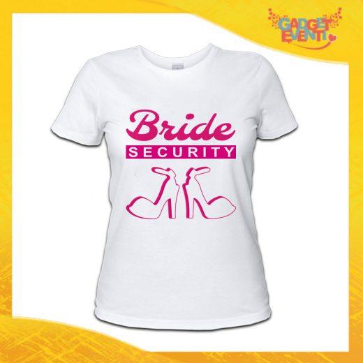 """T-Shirt Donna Bianca Addio al Nubilato Maglietta """"Bride Security Team"""" Gadget Eventi"""
