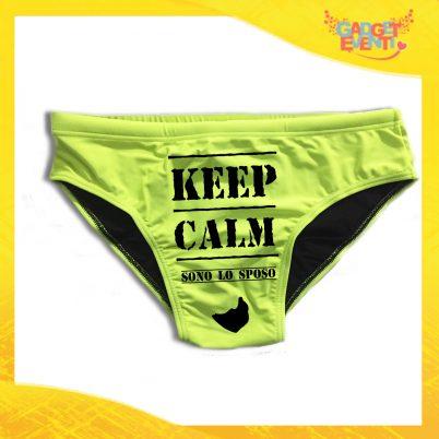 """Costume Celibato Slip Giallo Fluo Personalizzato """"Keep Calm Sposo"""""""