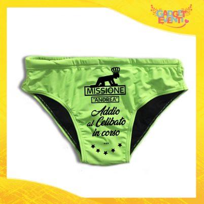 """Costume Celibato Slip Verde Fluo Personalizzato """"Addio al Celibato in Corso"""""""