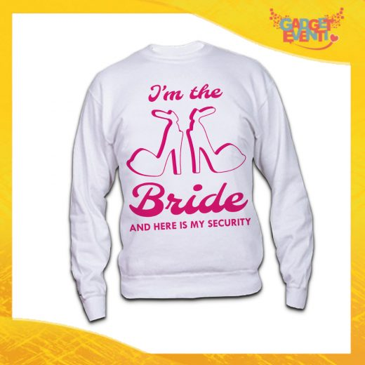 """Felpa Nubilato Bianca """"Bride Security Sposa"""" Girocollo o con Cappuccio Idea Regalo per Addio al Nubilato Gadget Eventi"""