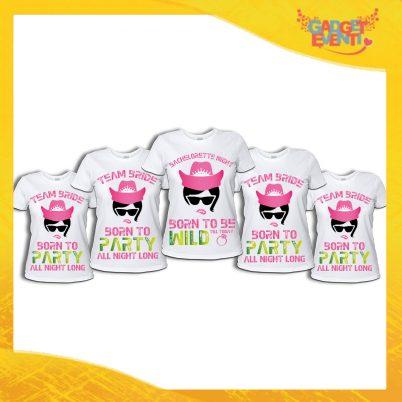"""Pacchetto di T-Shirt Bianche Donna """"Born To Be Wild"""" Addio al Nubilato Smanicato Femminile Divertente per feste e Party pre matrimoniali Gadget Eventi"""