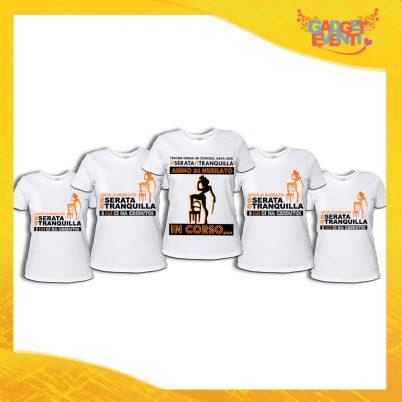 """Pacchetto di T-Shirt Bianche Donna """"Serata Tranquilla"""" Addio al Nubilato Smanicato Femminile Divertente per feste e Party pre matrimoniali Gadget Eventi"""