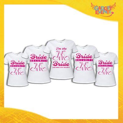 """Pacchetto di T-Shirt Bianche Donna """"Bride Security"""" Addio al Nubilato Smanicato Femminile Divertente per feste e Party pre matrimoniali Gadget Eventi"""