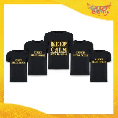 """Pacchetto di T-Shirt Nero Uomo """"Keep Calm Sposo + Amici"""" Addio al Celibato Smanicato Maschile Divertente per feste e Party pre matrimoniali Gadget Eventi"""