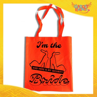 "Borsa Shopper Arancio Fluo ""Bride Security"" Idea Regalo Per Addii al Nubilato Gadget Eventi"