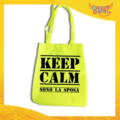 "Borsa Shopper Giallo Fluo ""Keep Calm Sposa"" Idea Regalo Per Addii al Nubilato Gadget Eventi"
