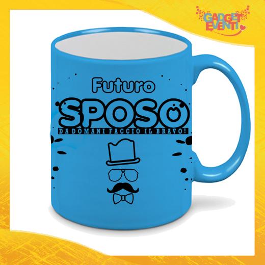 """Tazza Fluo Blu Personalizzata """"Futuro Sposo Sosteniamolo Tutti"""" Mug Colazione Breakfast Idea Regalo Per Addii al Celibato Gadget Eventi"""