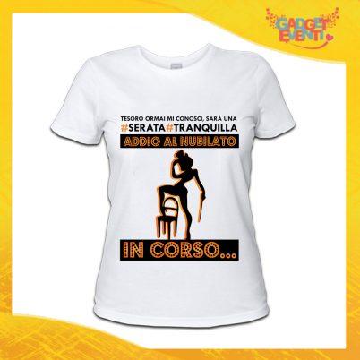 """T-Shirt Donna Bianca Addio al Nubilato Maglietta """"Serata Tranquilla Sposa"""" Gadget Eventi"""