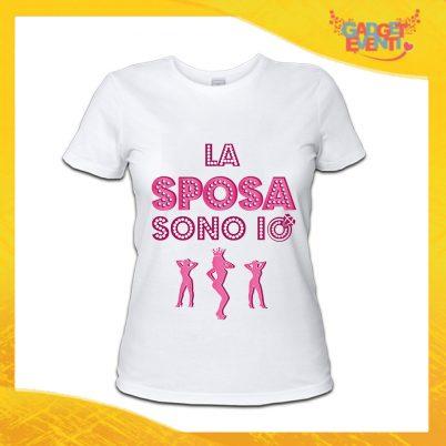 """T-Shirt Donna Bianca Addio al Nubilato Maglietta """"La Sposa Sono Io"""" Gadget Eventi"""
