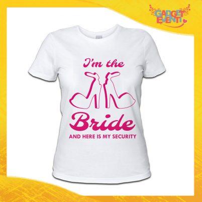 """T-Shirt Donna Bianca Addio al Nubilato Maglietta """"Bride Security Sposa"""" Gadget Eventi"""