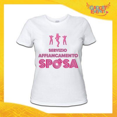 """T-Shirt Donna Bianca Addio al Nubilato Maglietta """"Servizio Affiancamento Sposa"""" Gadget Eventi"""